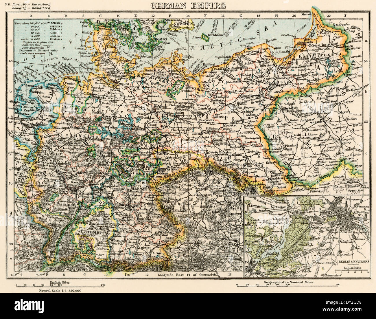 Map of the German Empire, late 1800s. Printed color lithograph - Stock Image