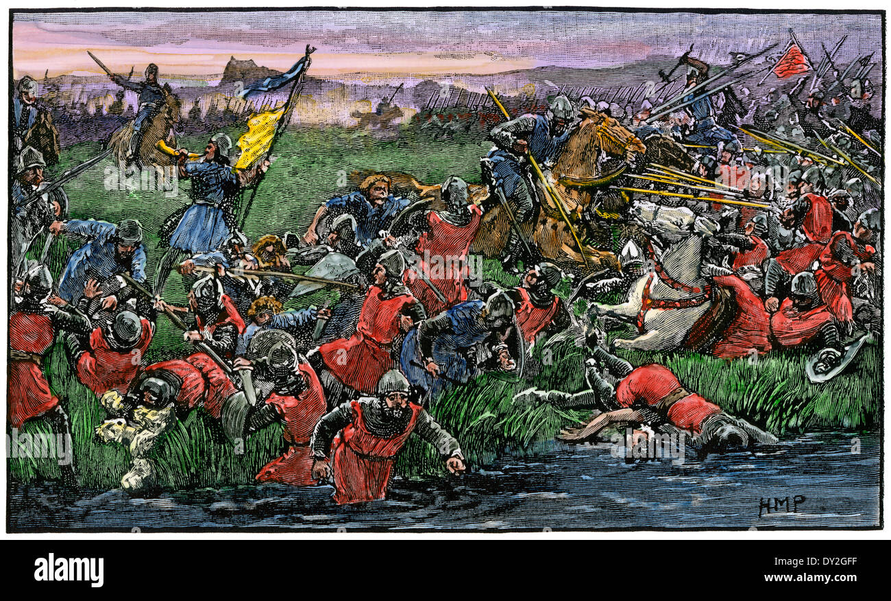 Scots rout the English army at the battle of Bannockburn, 1314. Hand-colored woodcut - Stock Image