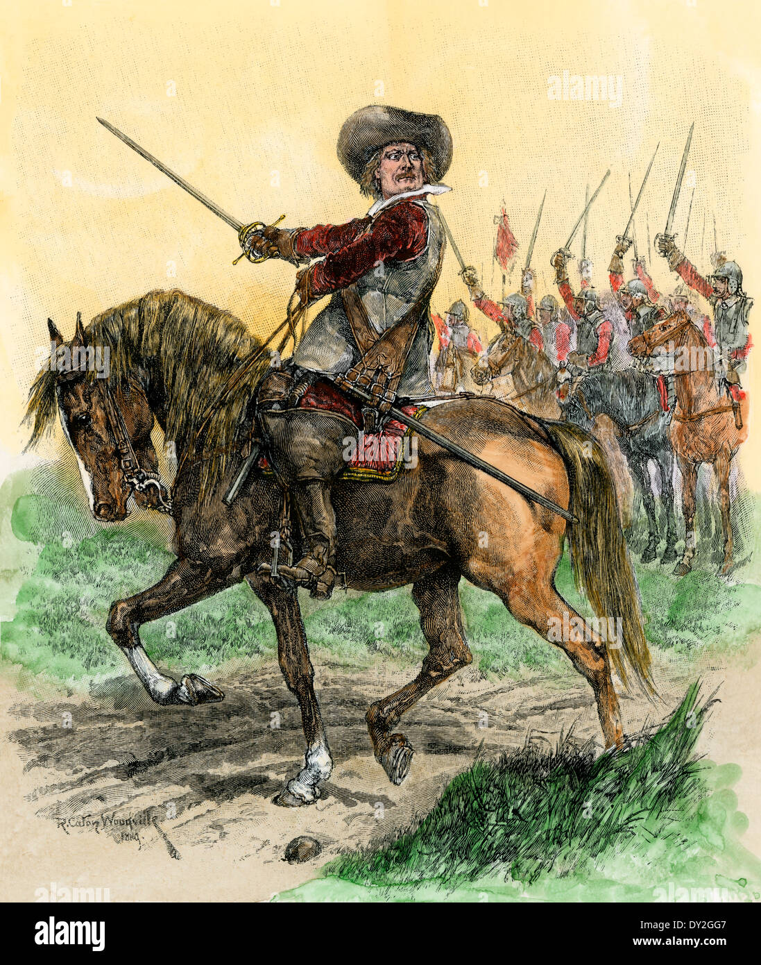 Cromwell leading troops at the Battle of Marston Moor, English Civil War,  1644. Hand-colored woodcut