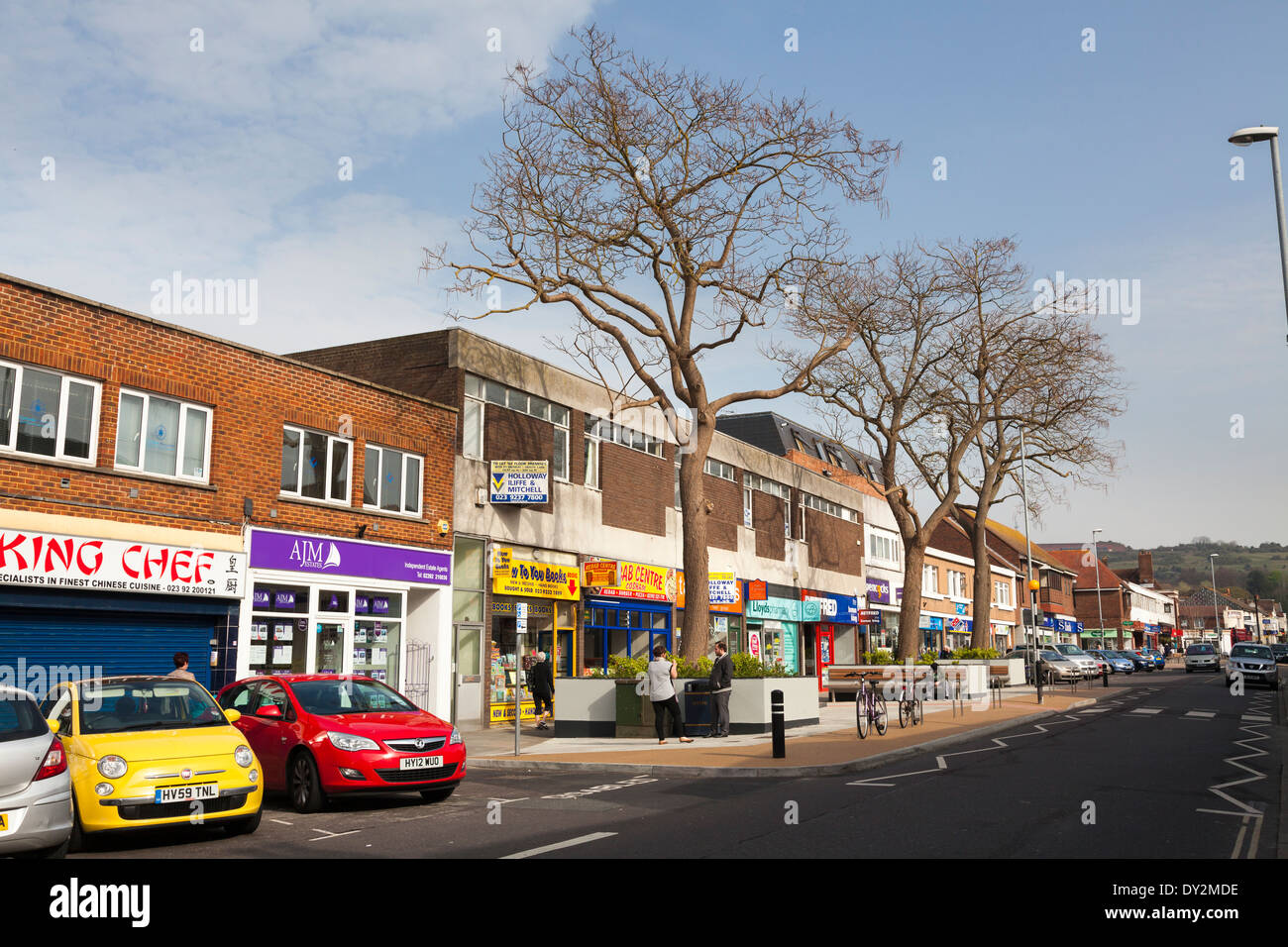 Local shops in Cosham High Street. Stock Photo