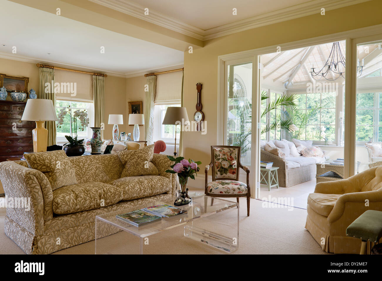 living room extension French windows - Stock Image