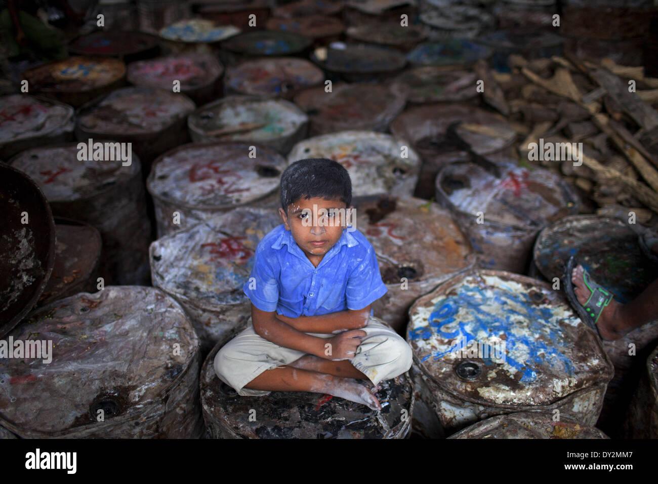 Dhaka, Bangladesh. 4th Apr, 2014. ISLAM is 8 years old, works at a manual soap factory in Dhaka, Bangladesh. Child - Stock Image