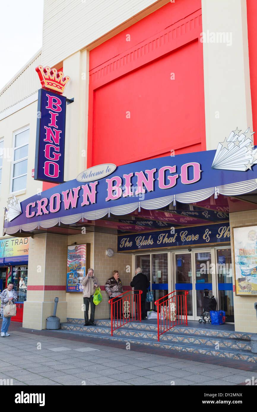 Customers waiting outside Crown Bingo Hall. Stock Photo