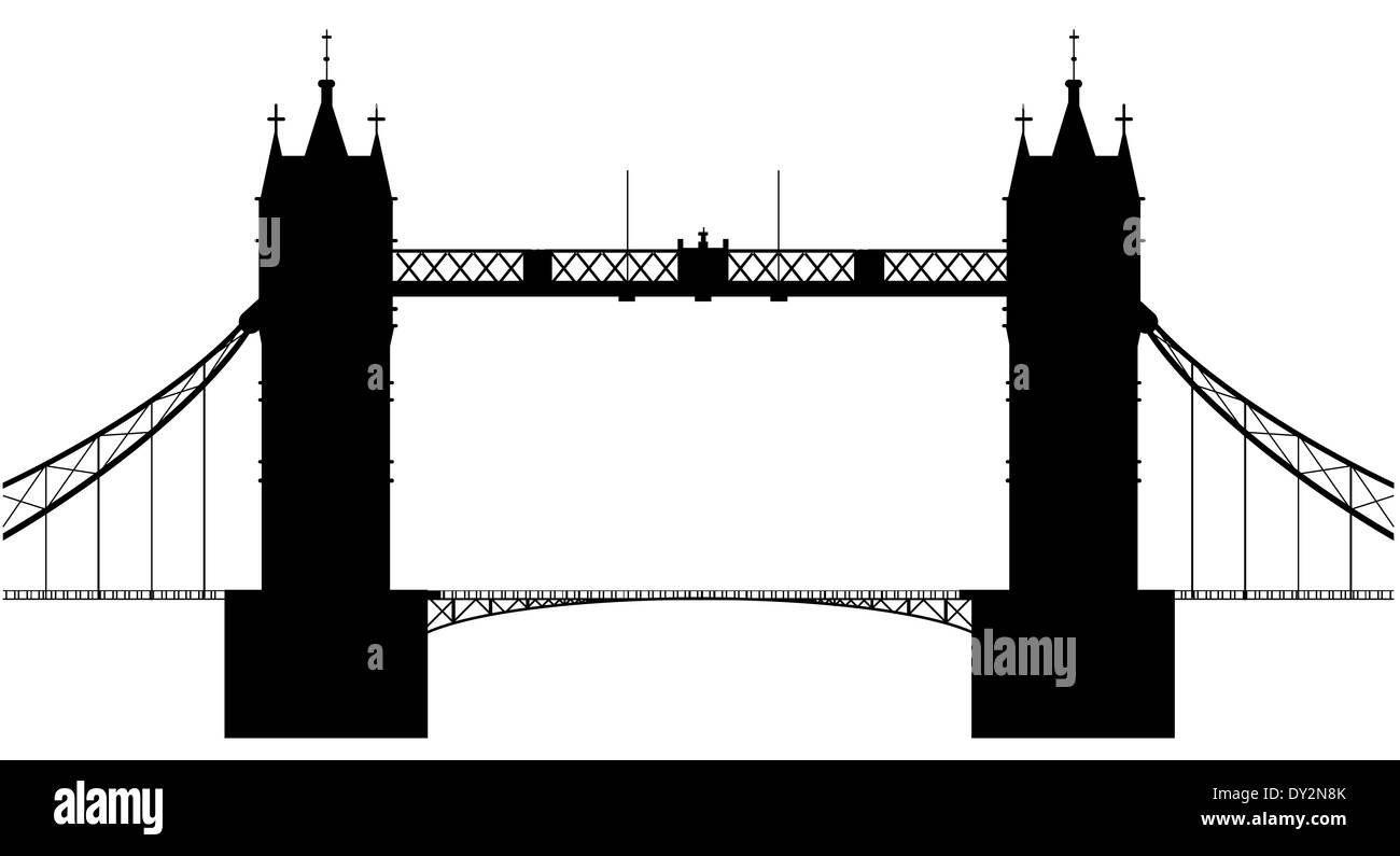 A silhouette of London Tower Bridge isolated over a white background - Stock Image