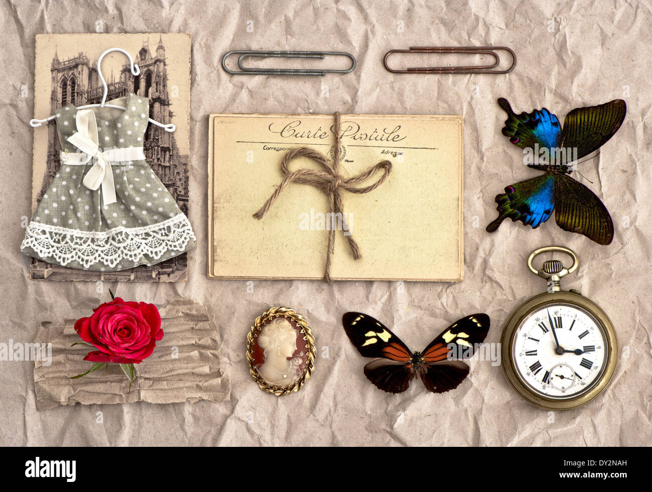 old postcards and vintage things. nostalgic scrap booking background - Stock Image