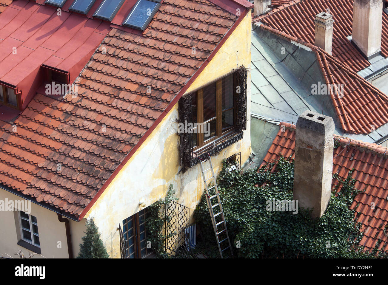 Rooftops of Lesser Town, Prague, Czech Republic - Stock Image