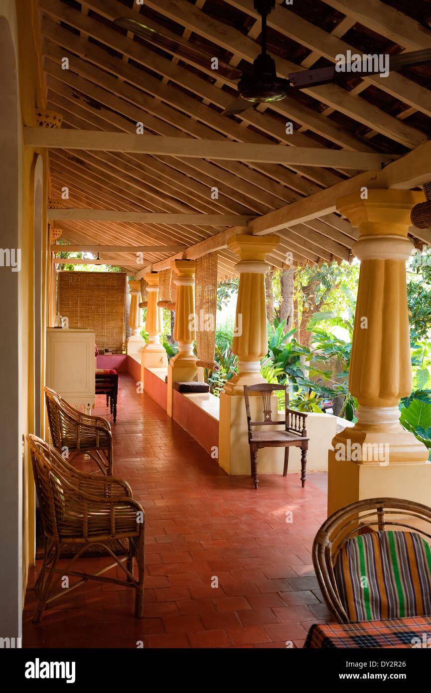 Veranda seating in Goan home - Stock Image