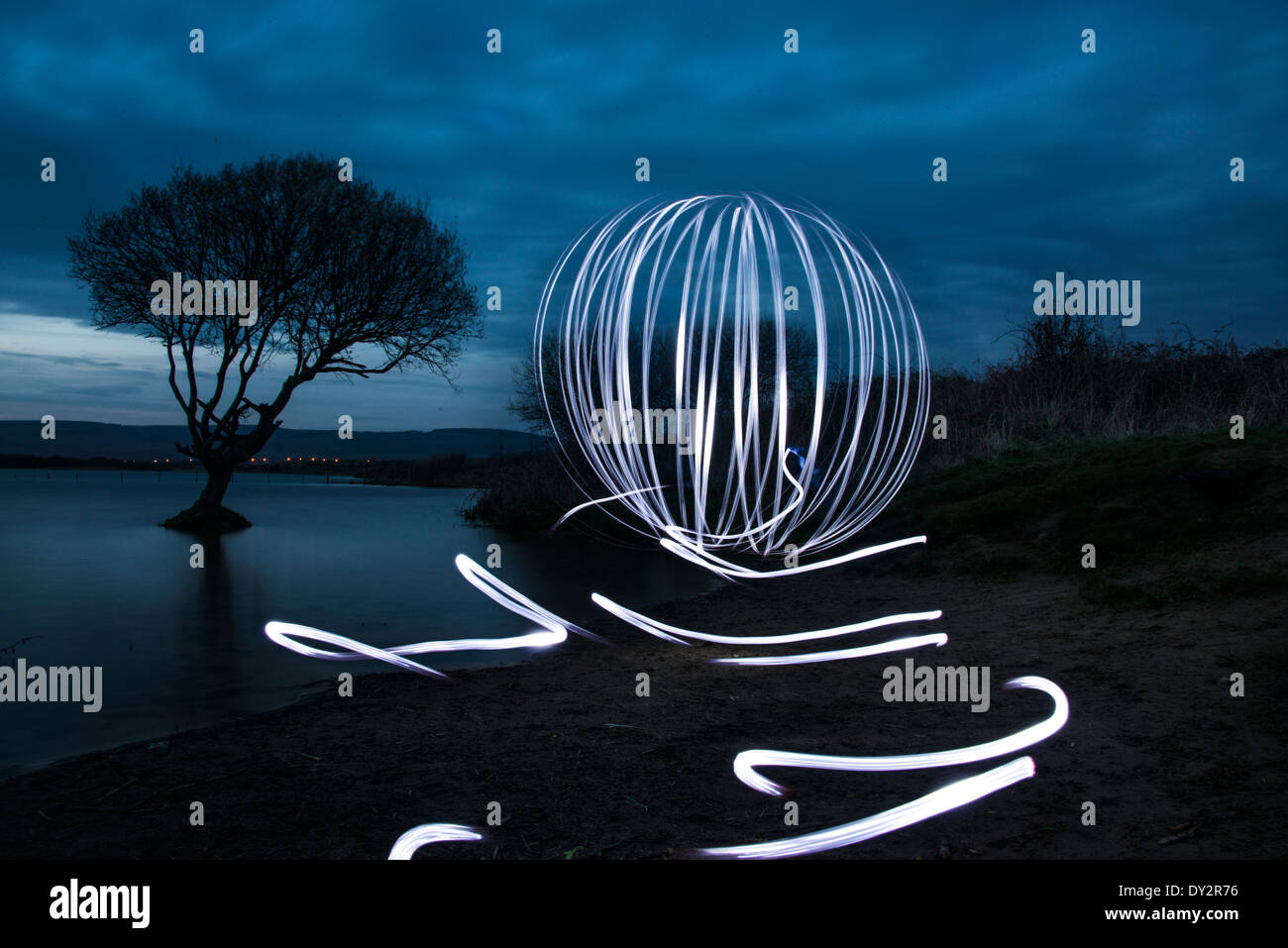 Light painting images at twilight - Stock Image