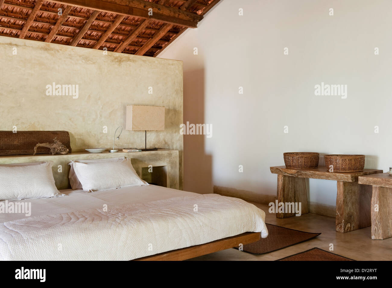 Goan beach house bedroom, India - Stock Image