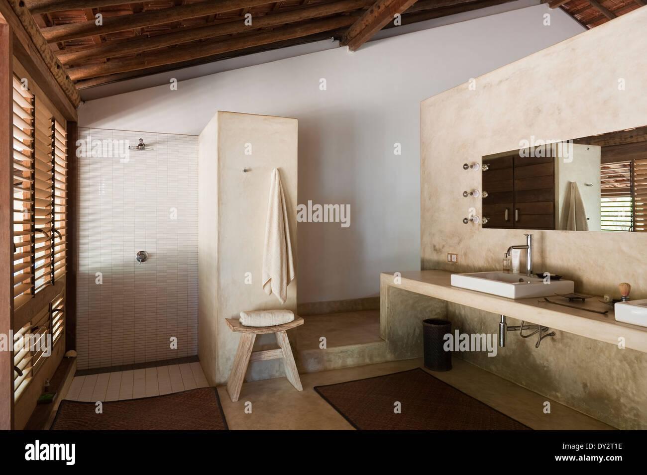 Bathroom interior of Goan beach house, India - Stock Image