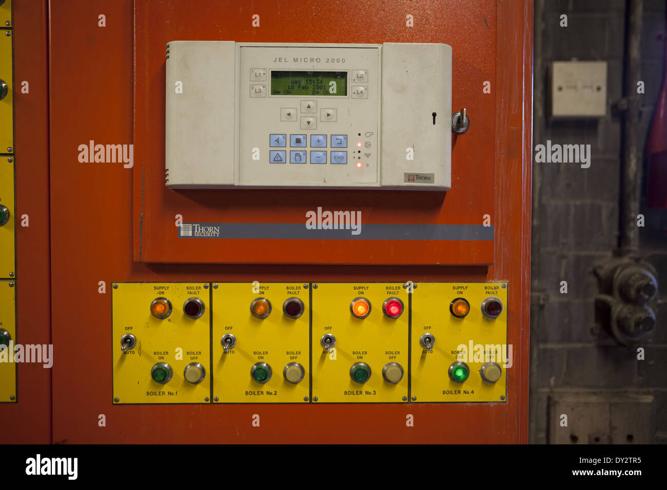 BMS Building Management System computer-based control system installed in buildings controls monitors building's equipment - Stock Image