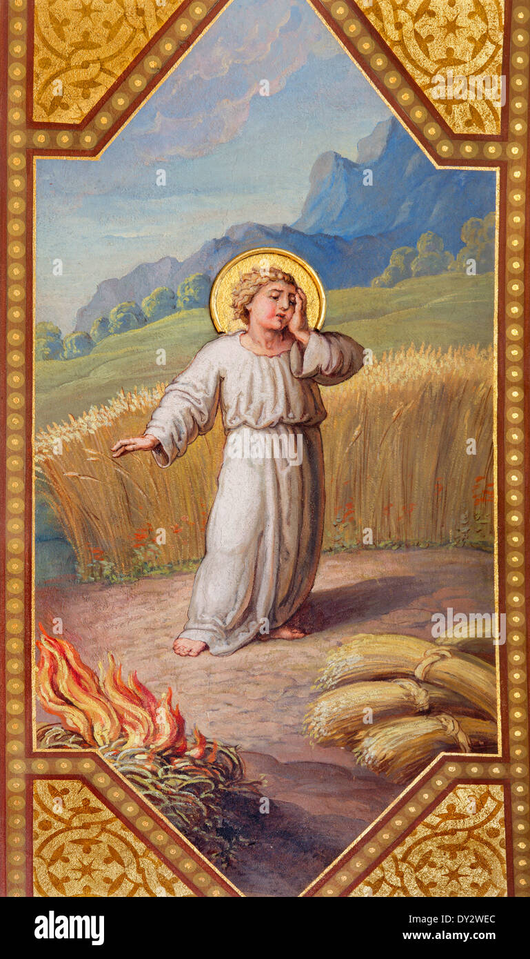 Vienna -  Fresco of little Jesus and parable The Weeds in the Grain by Josef Kastner 1906 - 1911 in Carmelites church - Stock Image