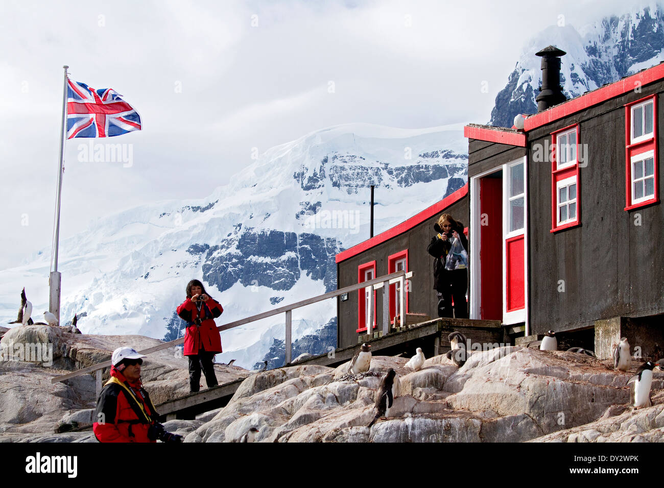 Penguin Post Office, Port Lockroy, near the Antarctic Peninsula, a frequent stop for Antarctica tourists on tourism cruise ship. - Stock Image