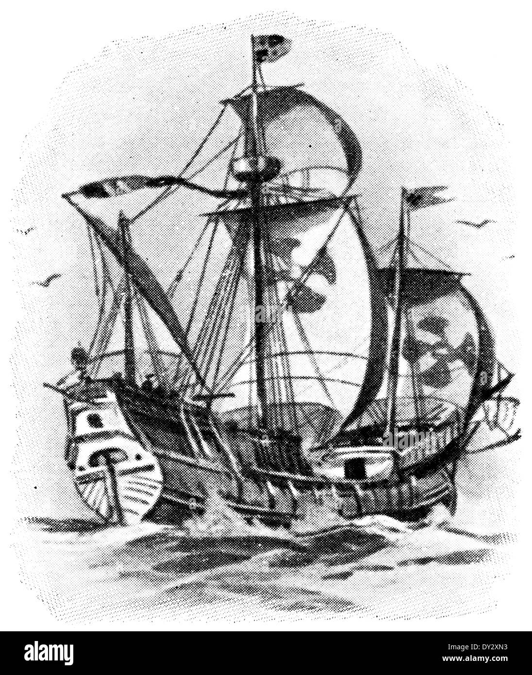 Caravel of Christopher Columbus, in 1492. - Stock Image
