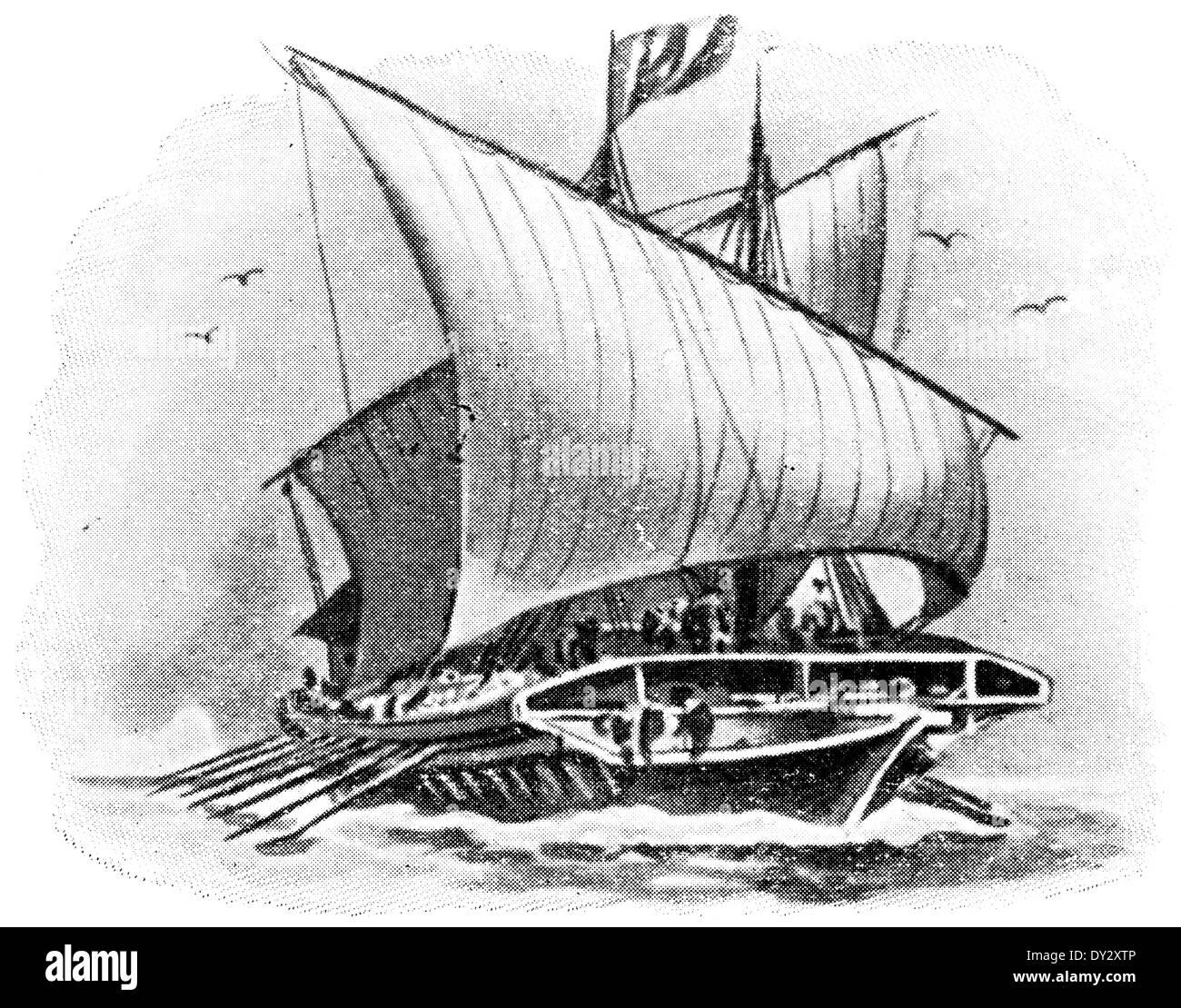 Venetian galley 17th century. - Stock Image