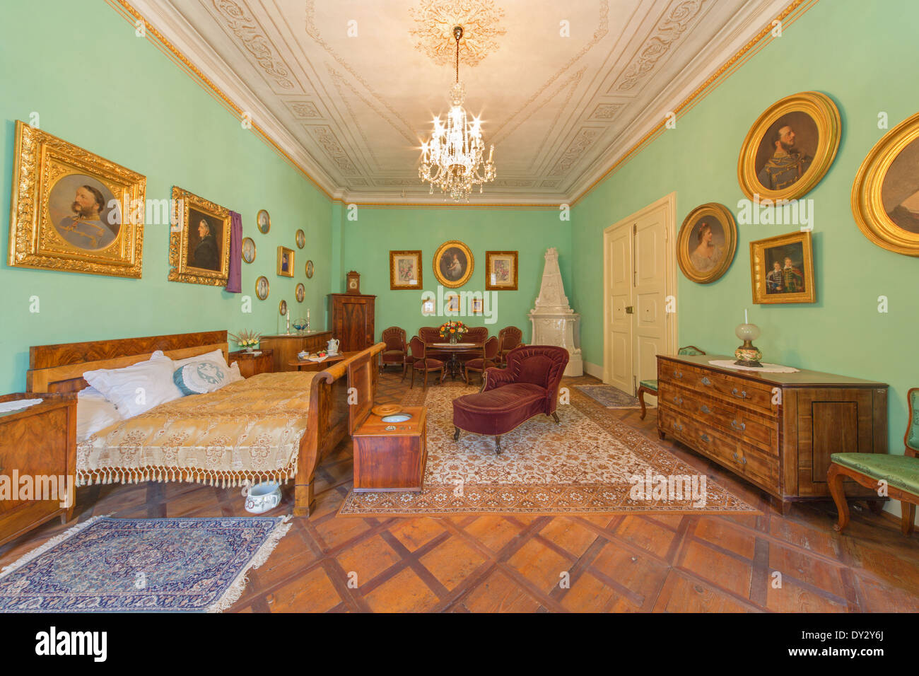 SAINT ANTON, SLOVAKIA - FEBRUARY 26, 2014: Bedroom of parents. Furniture from 19. cent in palace Saint Anton. - Stock Image