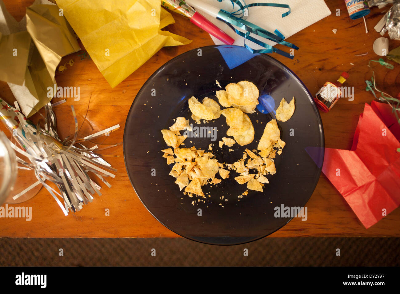 Aftermath of a New Year party, the morning after. - Stock Image
