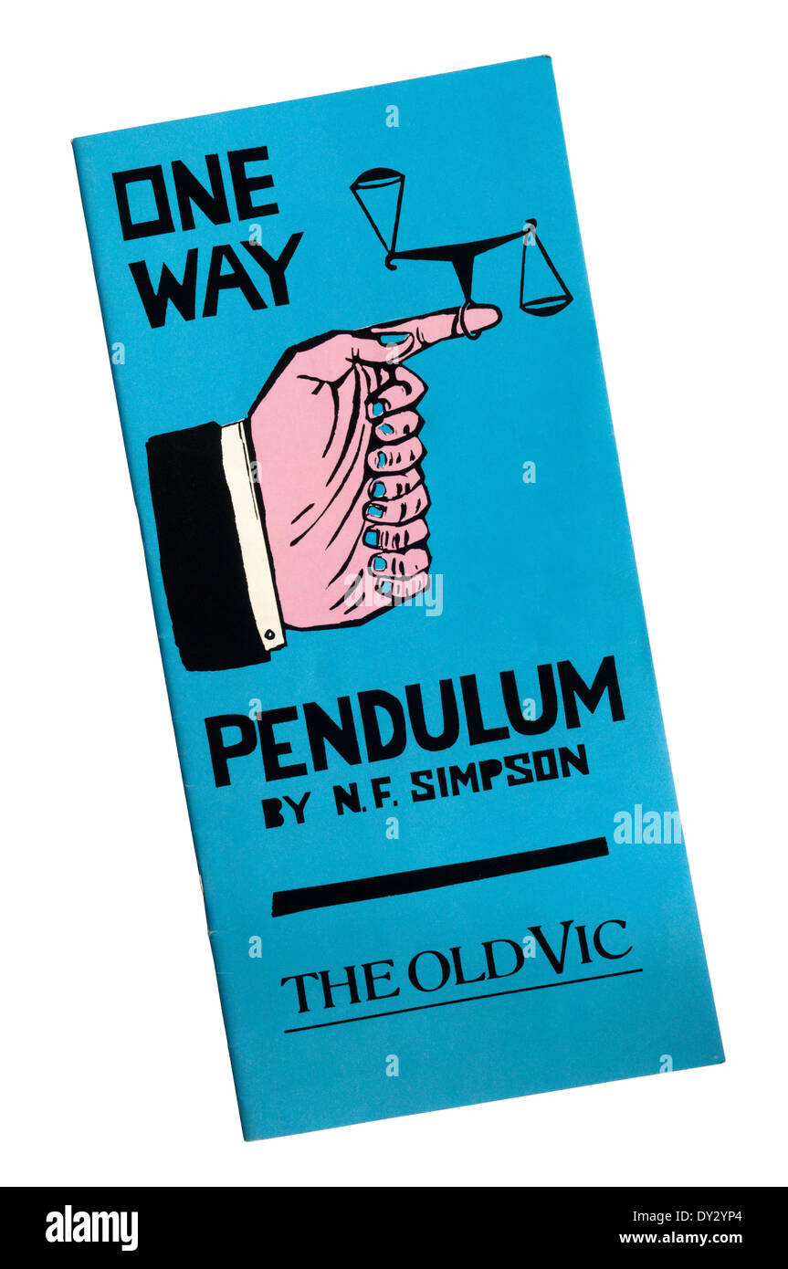 Programme for the 1988 production of One Way Pendulum by N. F. Simpson at the Old Vic, directed by Jonathan Miller. - Stock Image