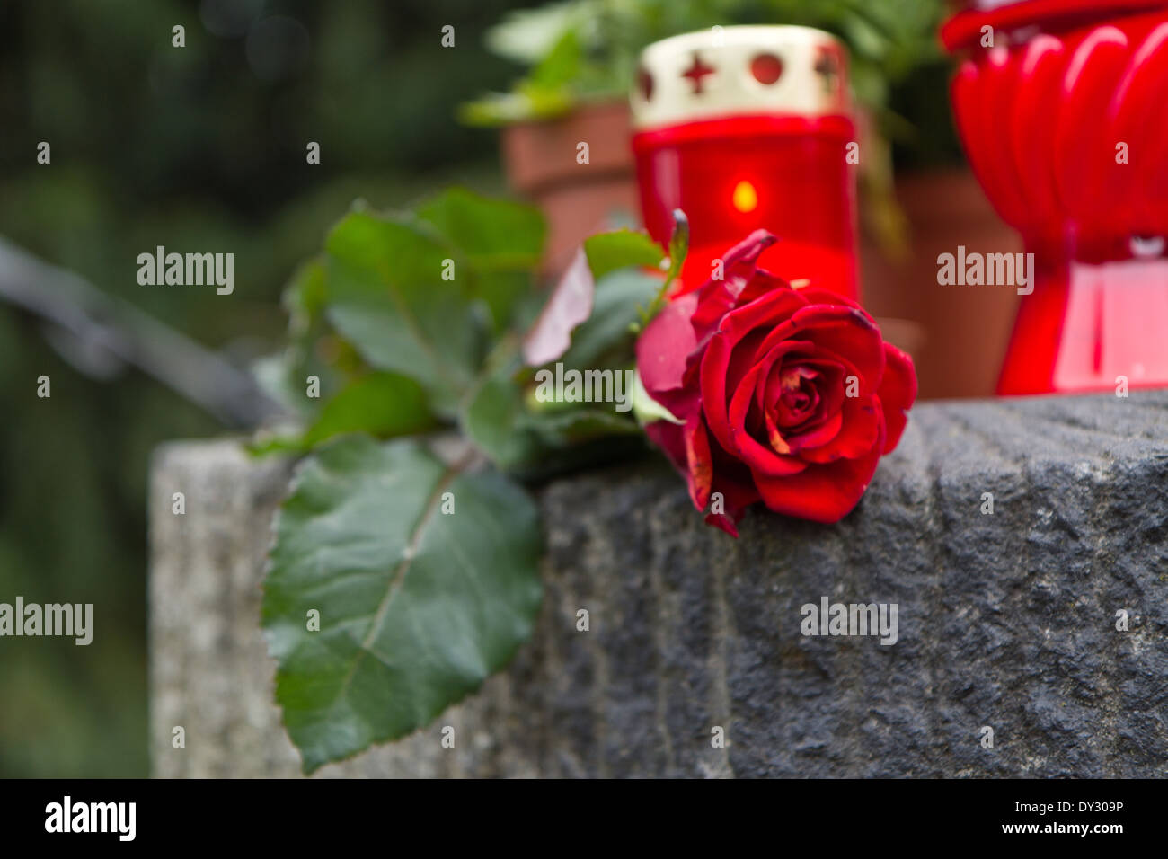 Details at cemetery in Plzeň, Czech republic - Stock Image
