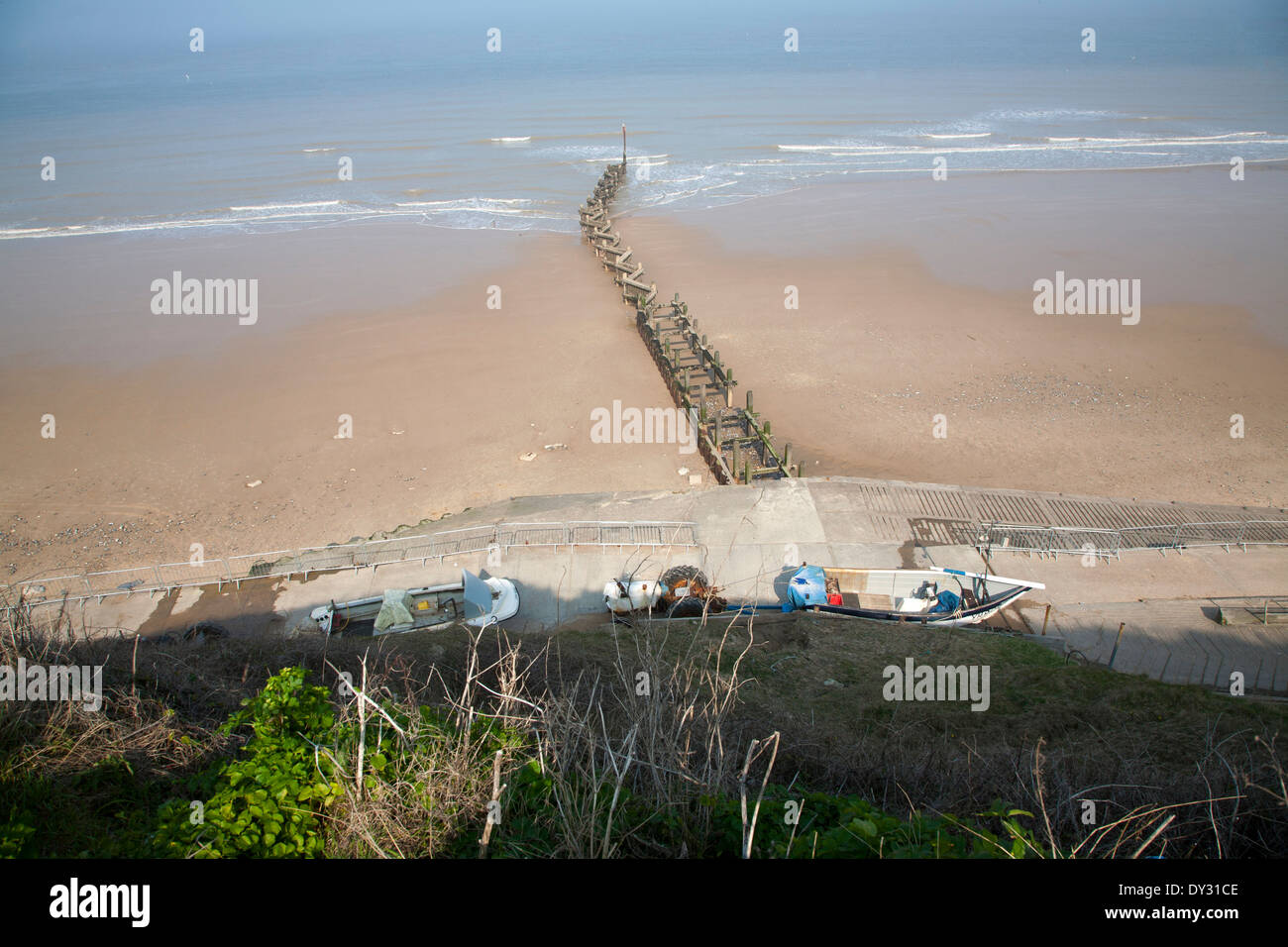 Overhead oblique view of wide sandy beach at low tide, Overstrand, Norfolk, England - Stock Image