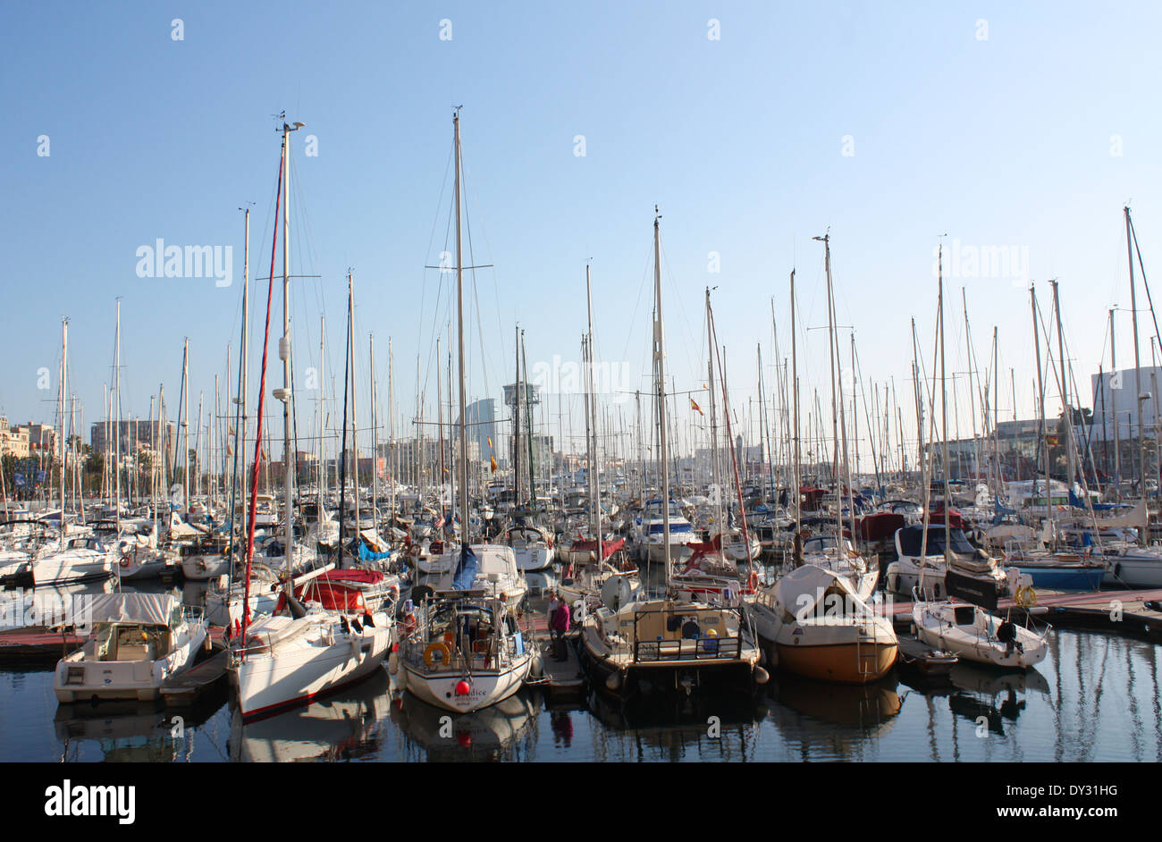 Boats in a habour in Barcelona city, Spain Stock Photo