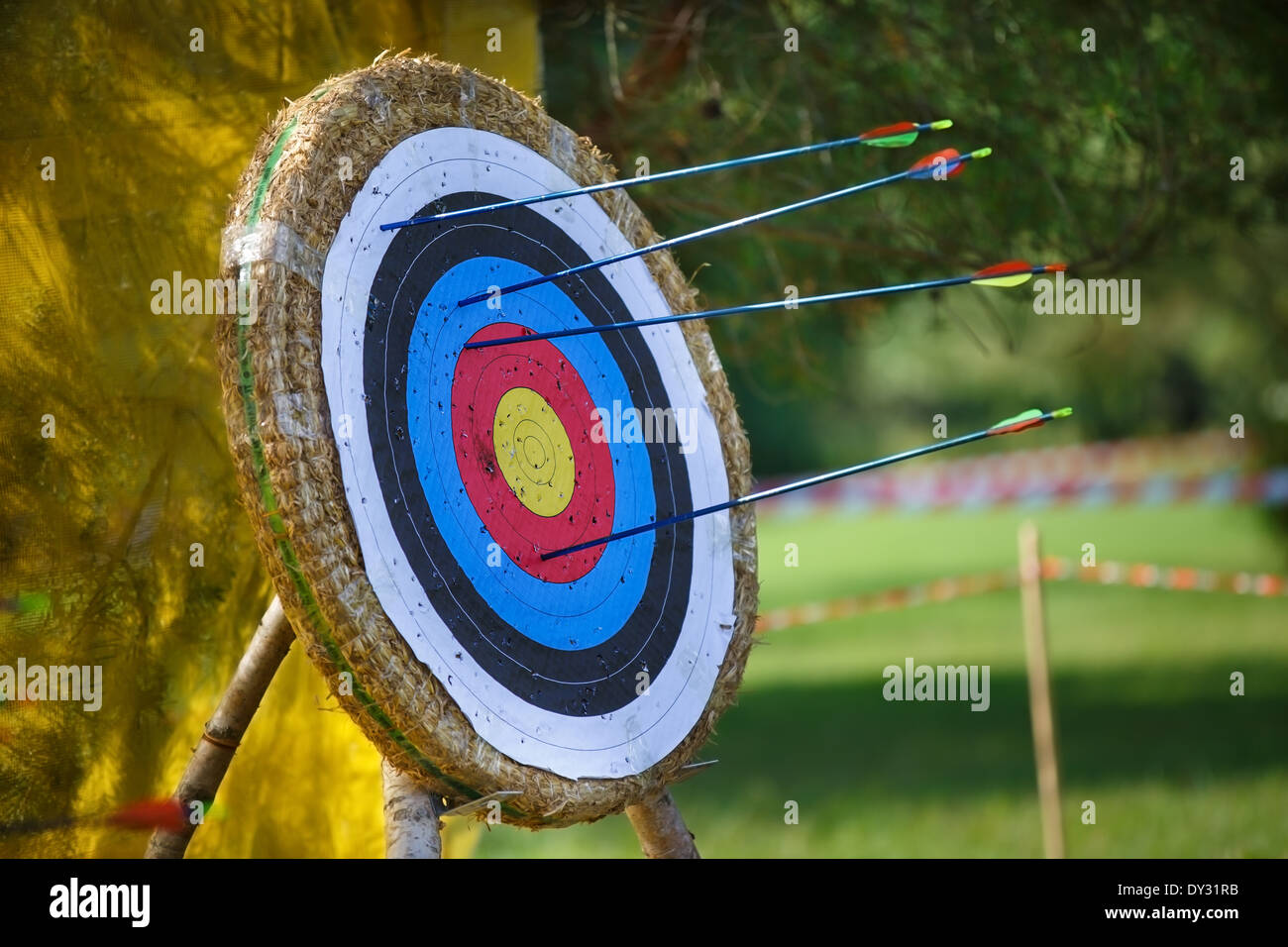 Arrows missed target. concept of fail-diligent - Stock Image