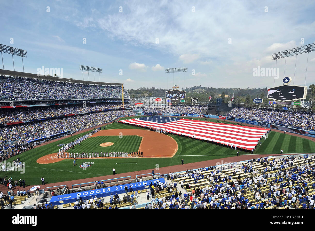 Los Angeles, CA, USA. 4th Apr, 2014. Opening Ceremonies before the Major League Baseball game Home Opener between the San Francisco Giants and the Los Angeles Dodgers at Dodger Stadium.Louis Lopez/CSM/Alamy Live News - Stock Image