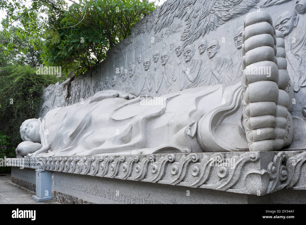Nha Trang, Vietnam, Southeast Asia. Colossal statue of Reclining Buddha at Long Son Pagoda Stock Photo