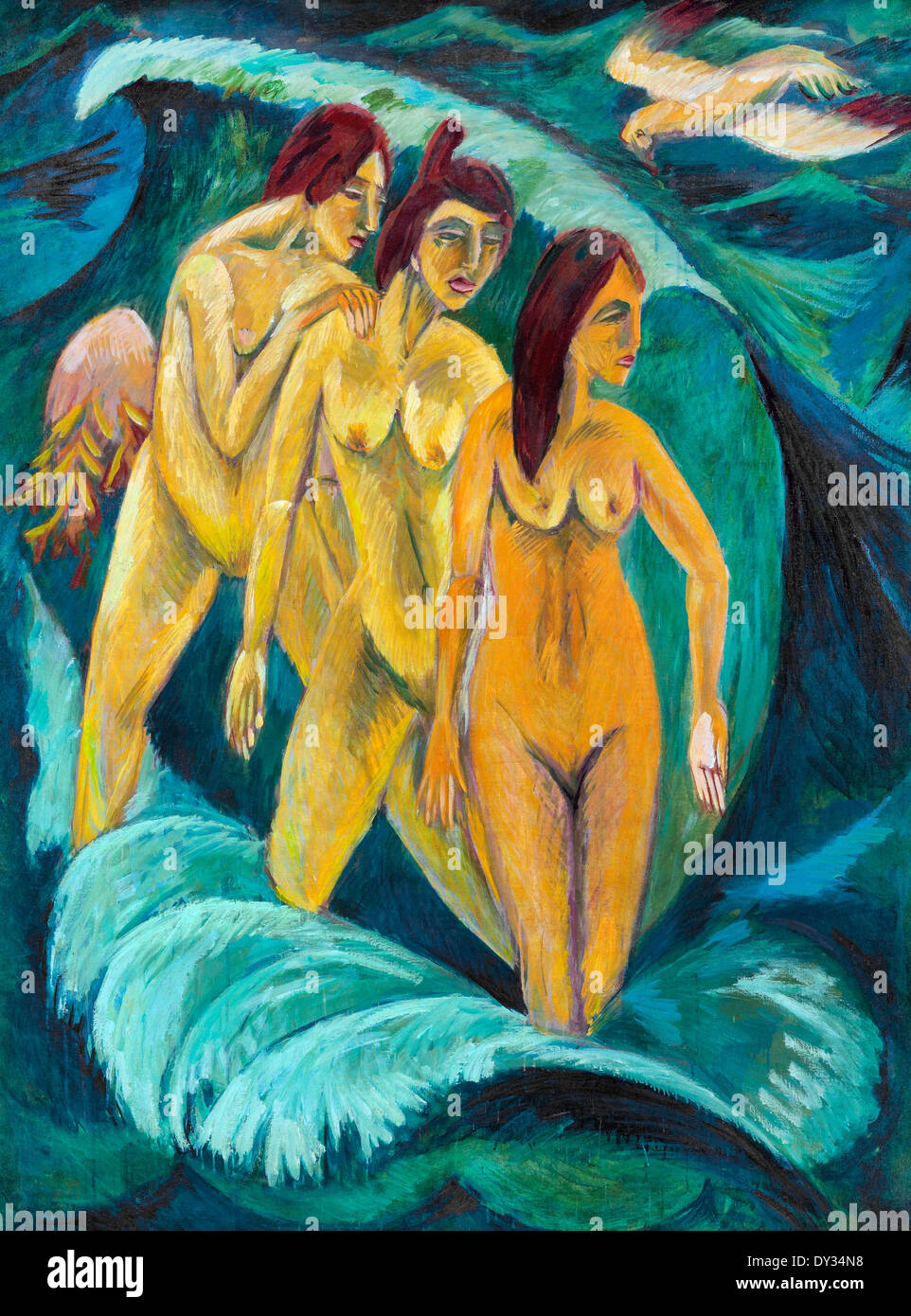Ernst Ludwig Kirchner, Three Bathers 1910 Oil on canvas. Art Gallery of New South Wales, Sydney, Australia. - Stock Image