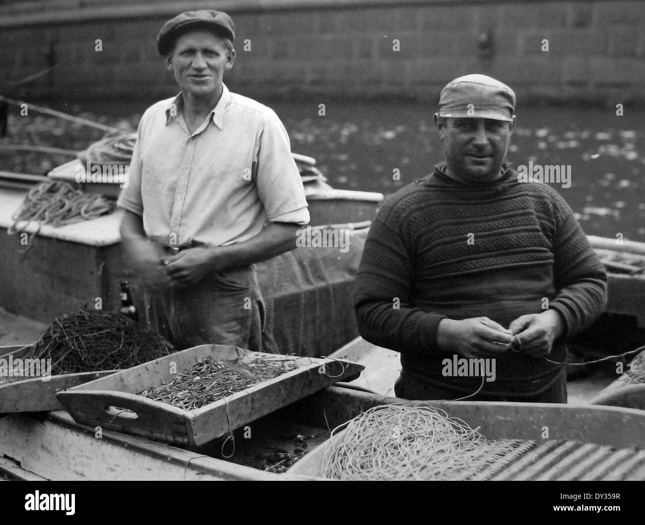 Fishermen Copenhagen Denmark in the 1930s - Stock Image