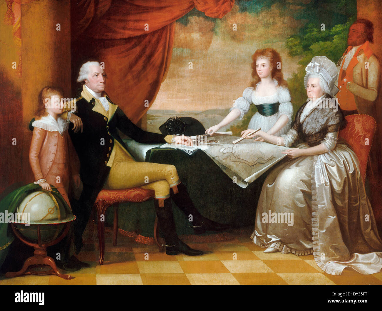 Edward Savage, The Washington Family 1789-1796 Oil on canvas. National Gallery of Art, Washington, D.C., USA. - Stock Image