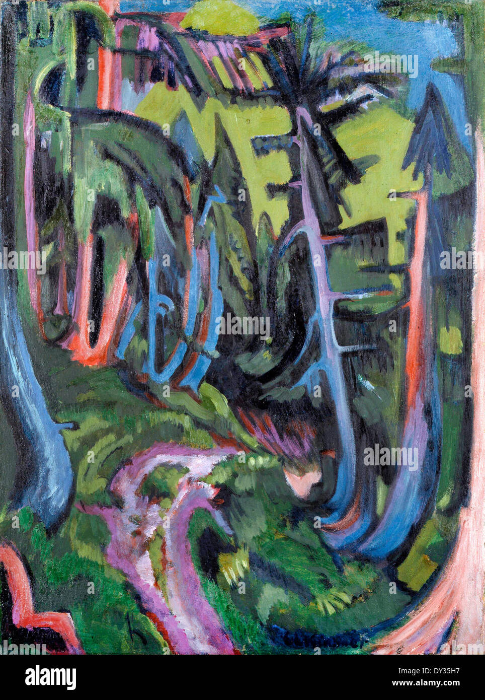 Ernst Ludwig Kirchner, Mountain Forest Path 1919 Oil on canvas. Lehmbruck Museum, Duisburg, Germany. - Stock Image