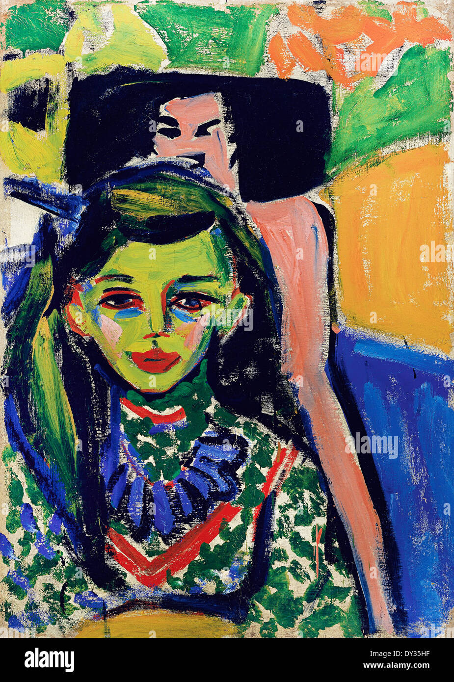 Ernst Ludwig Kirchner, Franzi in front of Carved Chair 1905-1920 Oil on canvas. Thyssen-Bornemisza Museum, Madrid, Spain. - Stock Image
