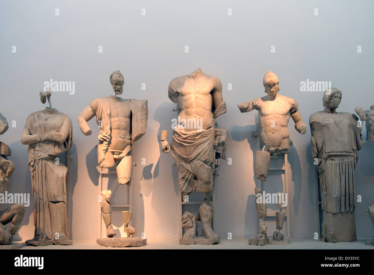 Part view frieze on eastern pediment Temple Zeus Ancient Olympia Peloponnese Greece Now in the - Stock Image