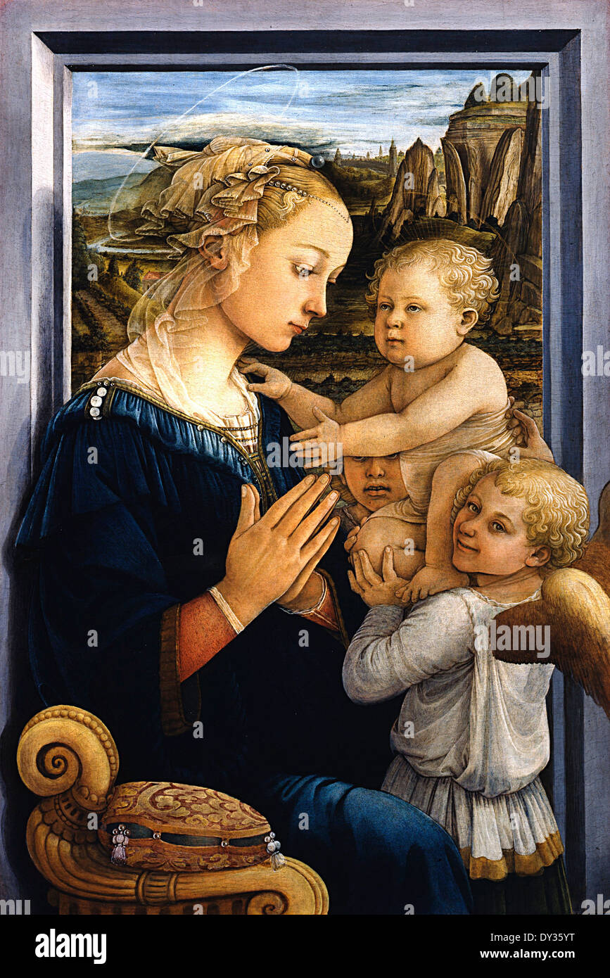 Filippo Lippi, Madonna and Child with Two Angels 1460-1465 Tempera on panel. Uffizi Gallery, Florence, Italy. - Stock Image