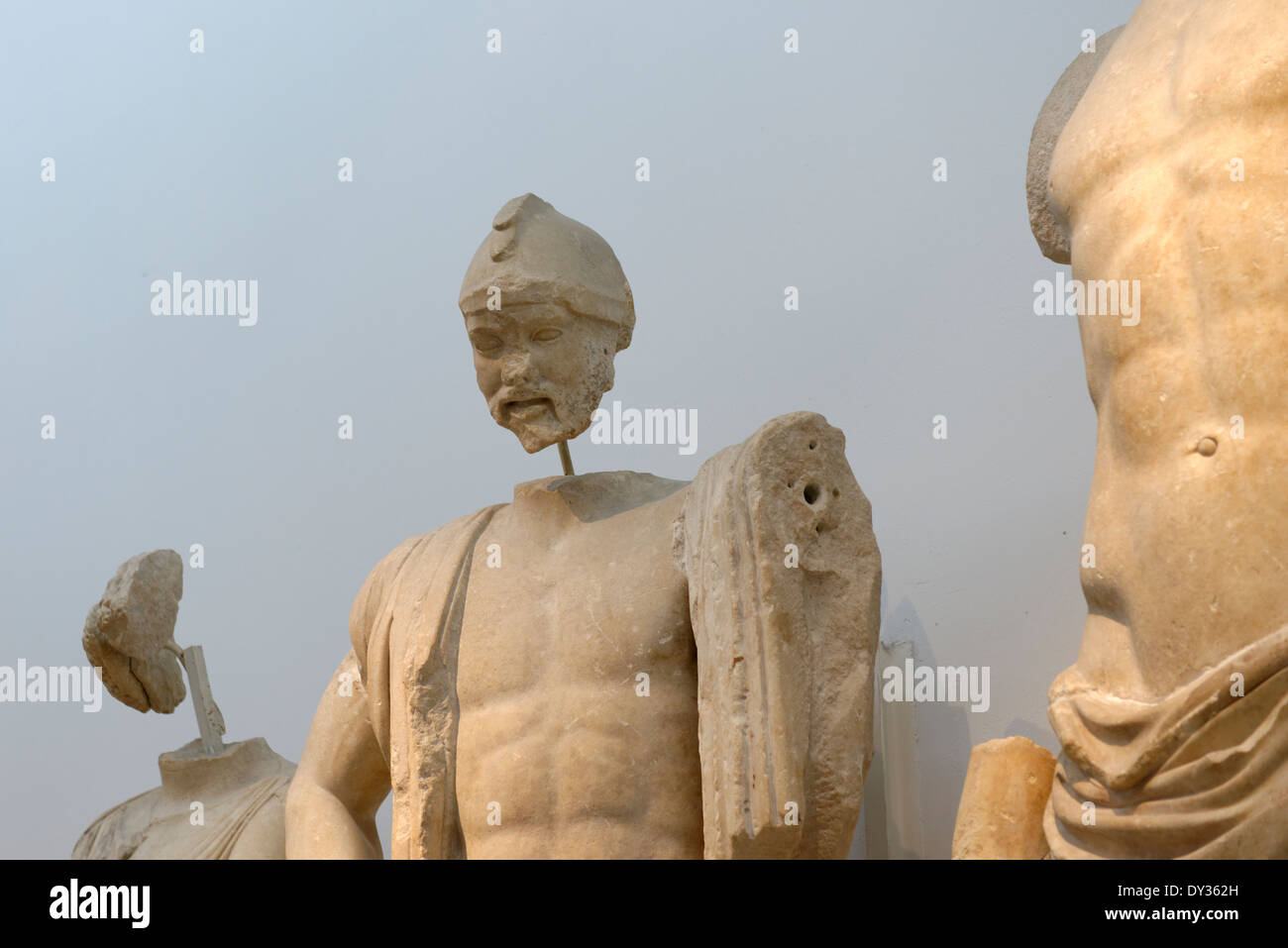 Close up figure Oenomaus from Temple Zeus eastern pediment frieze Ancient Olympia Peloponnese Greece Now in - Stock Image