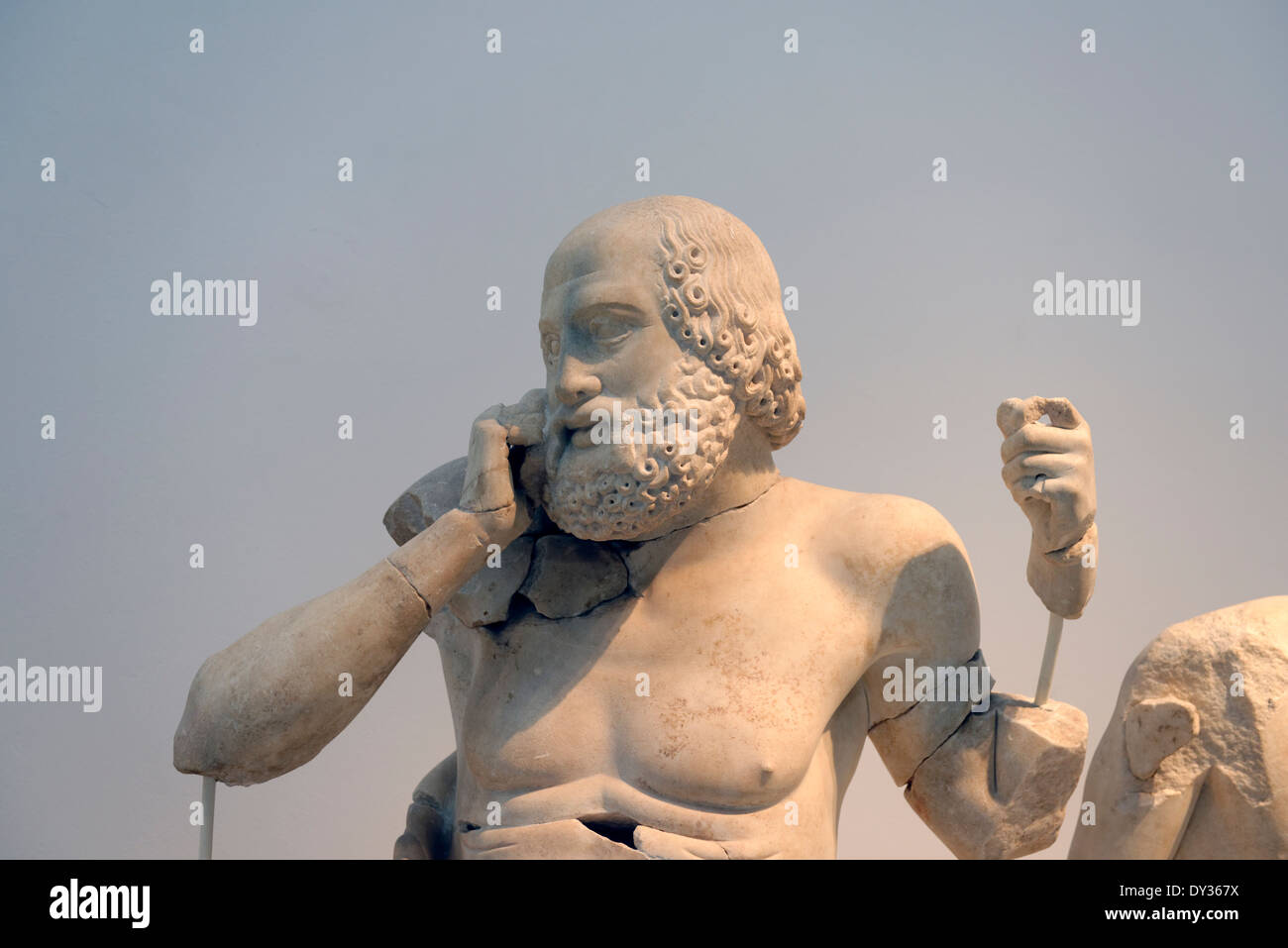 The figure Old Seer from Temple Zeus eastern pediment frieze Ancient Olympia Peloponnese Greece Now in the - Stock Image