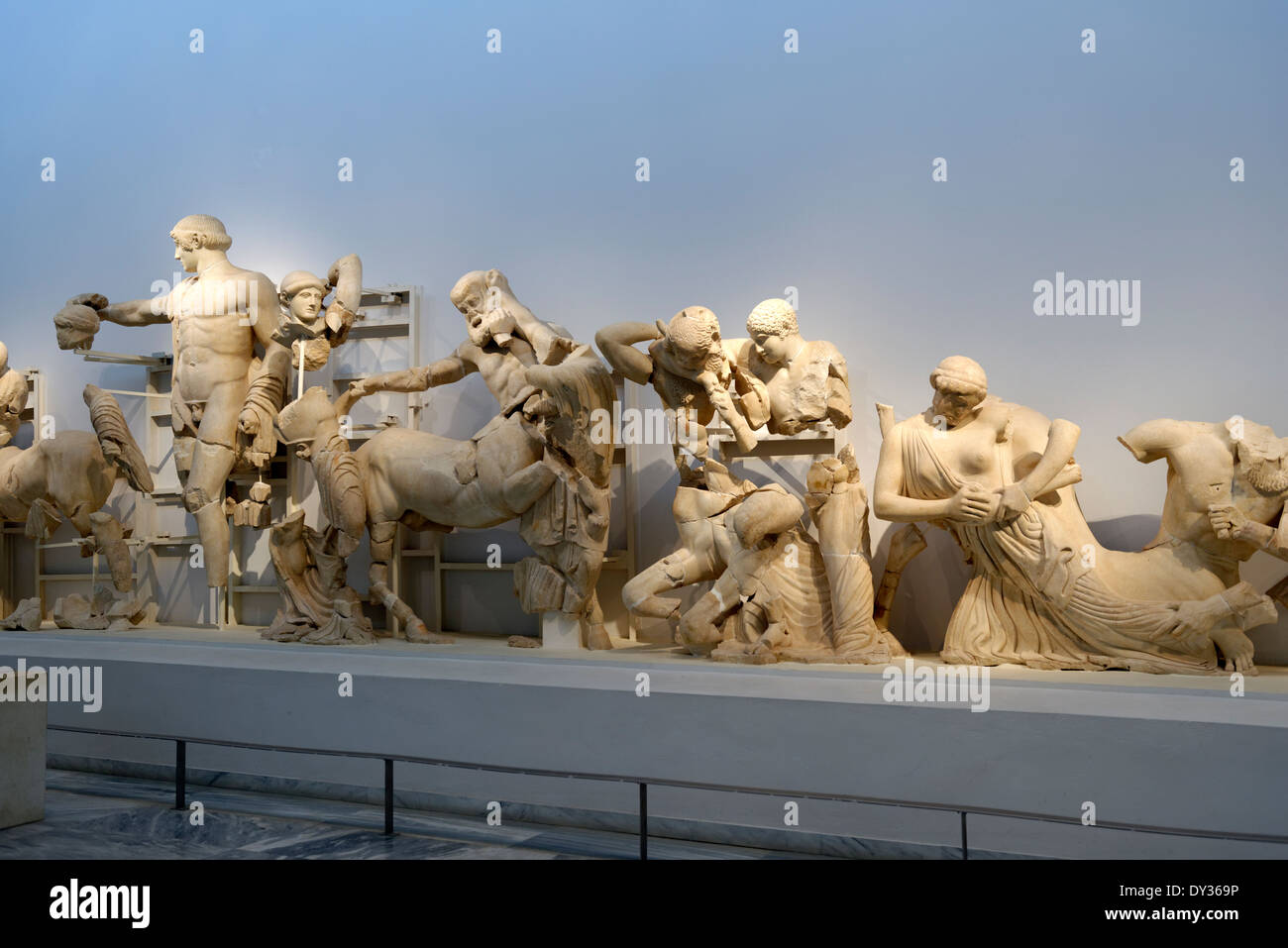 View Temple Zeus western pediment frieze Ancient Olympia Peloponnese Greece Now in Archaeological museum the - Stock Image