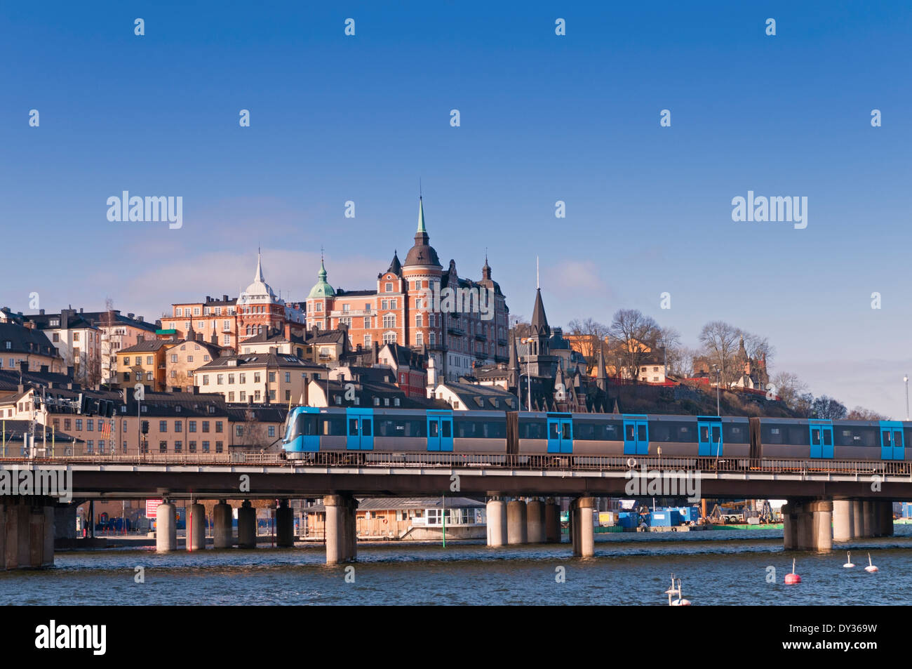 View to Sodermalm and railway line Stockholm Sweden - Stock Image