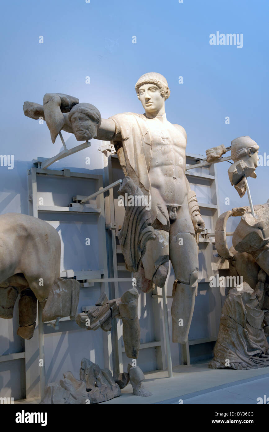 Apollo dominating centre Temple Zeus western pediment frieze Ancient Olympia Peloponnese Greece Now in the - Stock Image