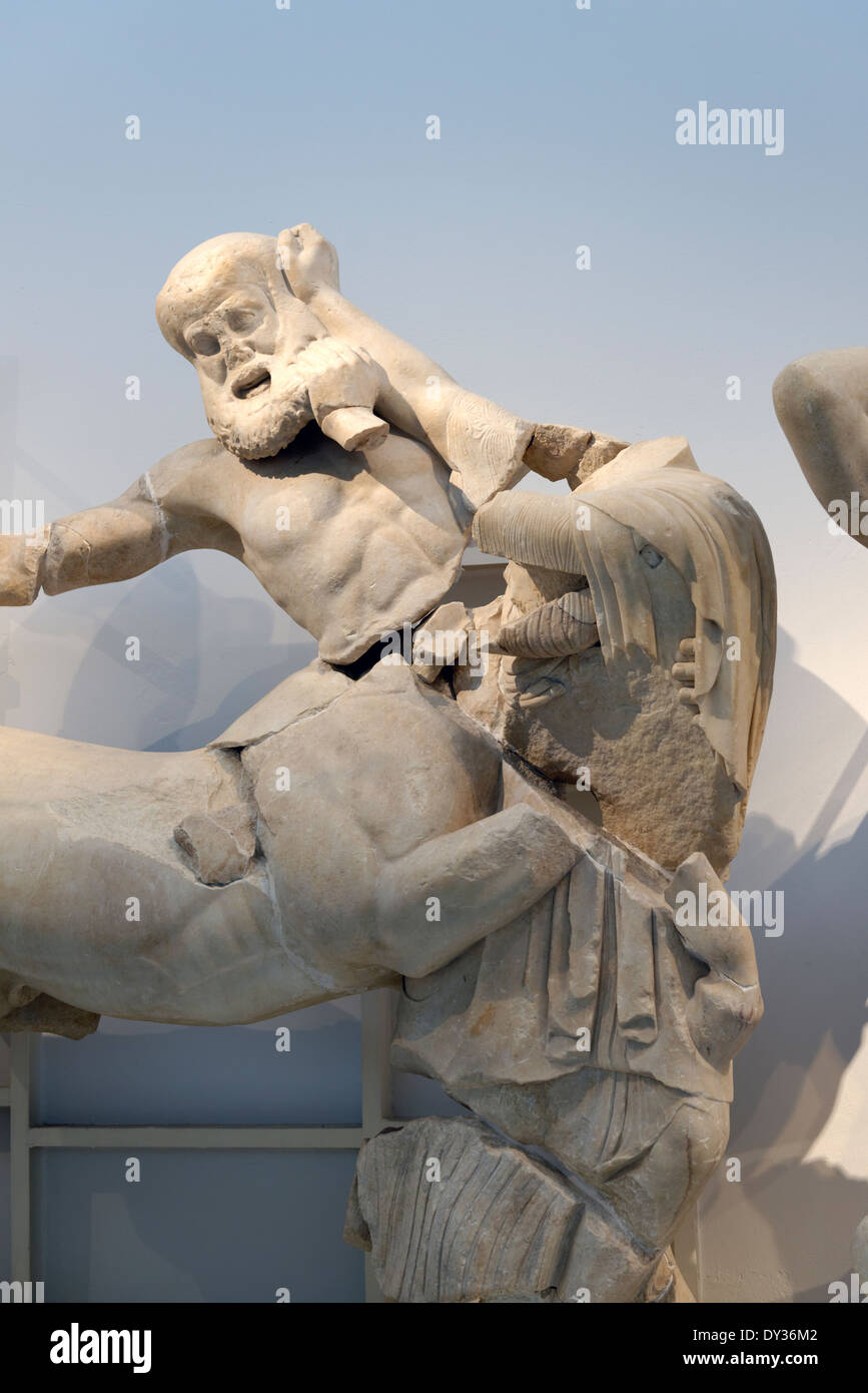 A Lapith girl struggling against Centaur on Temple Zeus western pediment frieze Ancient Olympia Peloponnese Greece - Stock Image