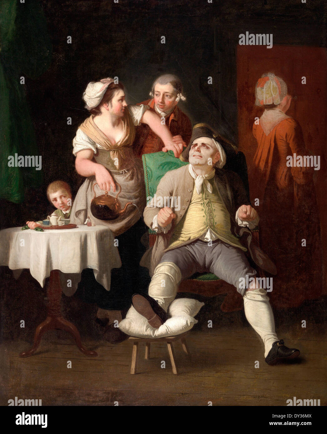 Edward Penny, The Profligate Punished by Neglect 1774 Oil on canvas. Yale Center for British Art, New Haven, USA. - Stock Image