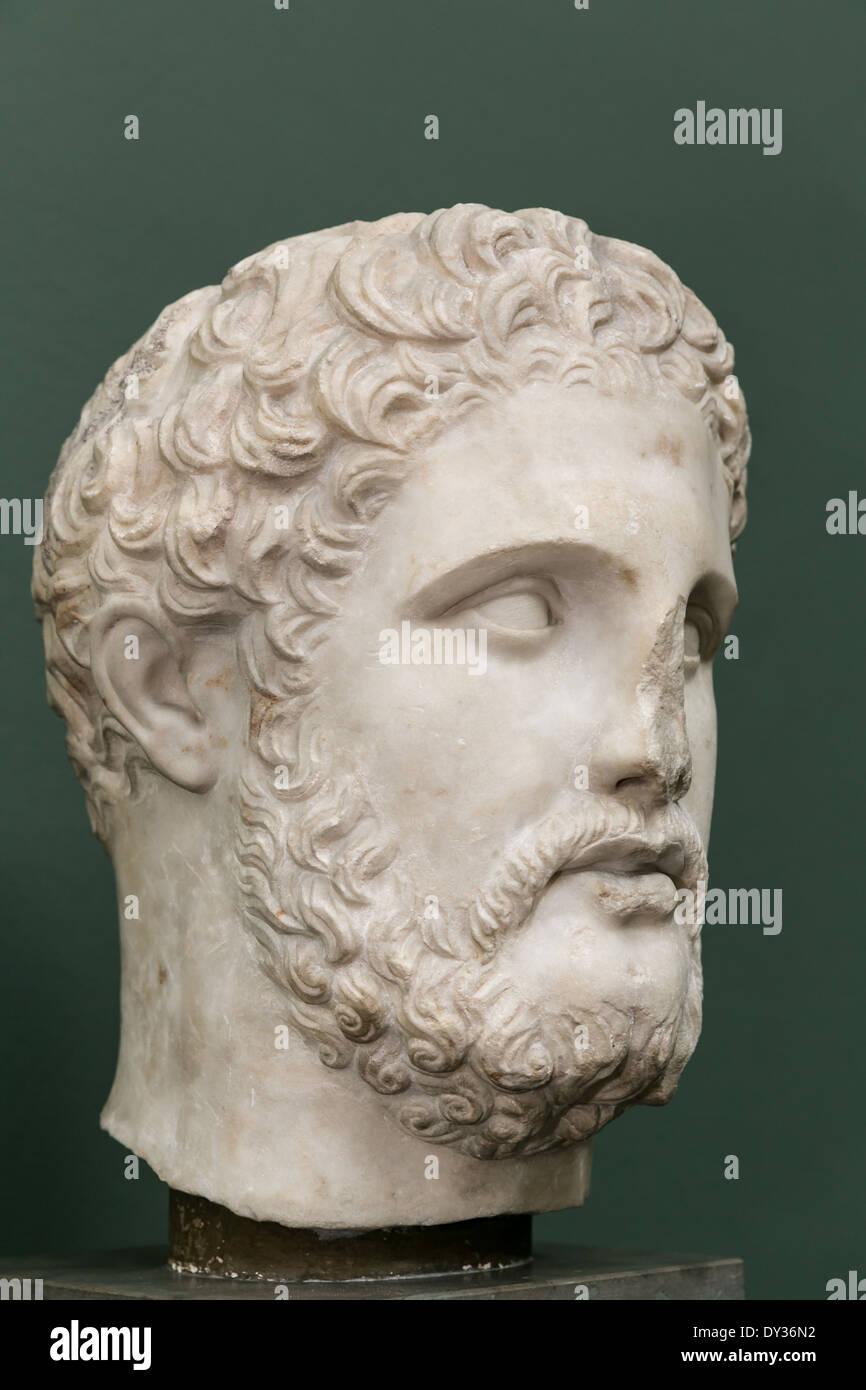 Marble sculpture of King of Macedonia, Phillip II, Ny Carlsberg Glyptotek, Copenhagen, Denmark - Stock Image