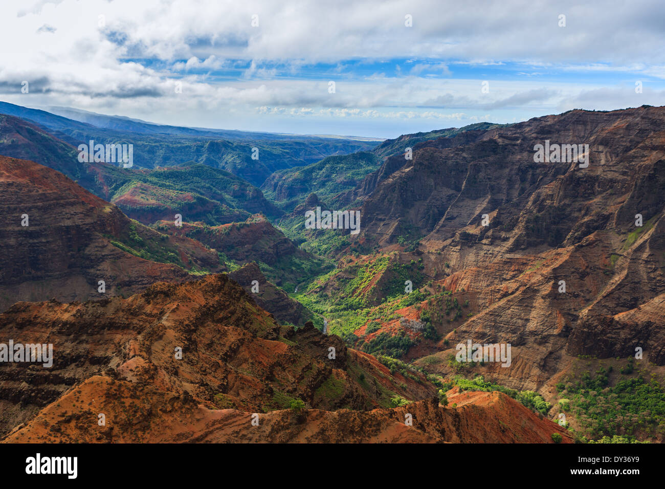 Helicopter view over Waimea Canyon, Kauai, Hawaii - Stock Image