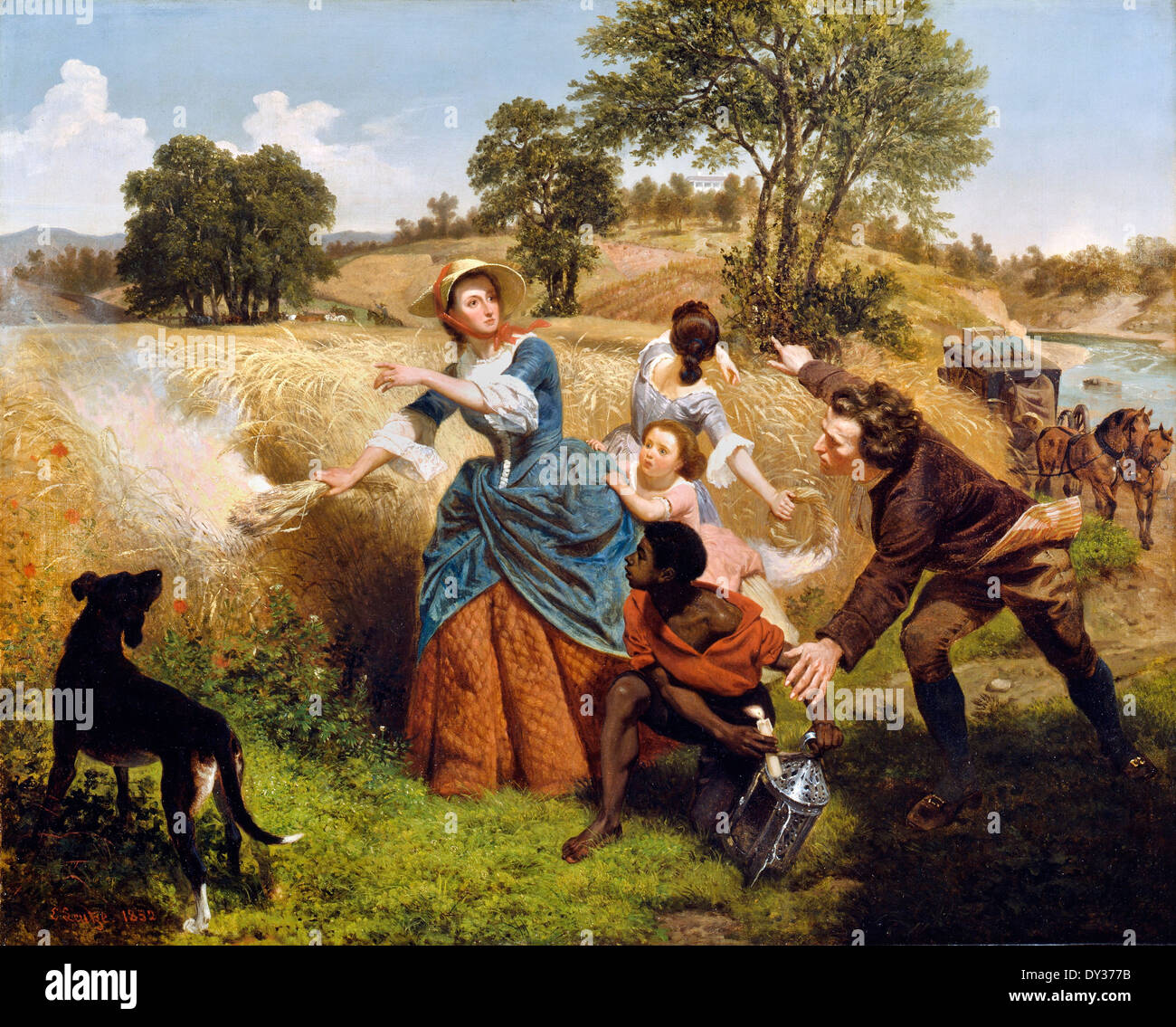 Emanuel Gottlieb Leutze, Mrs. Schuyler Burning Her Wheat Fields on the Approach of the British 1852 Oil on canvas. - Stock Image