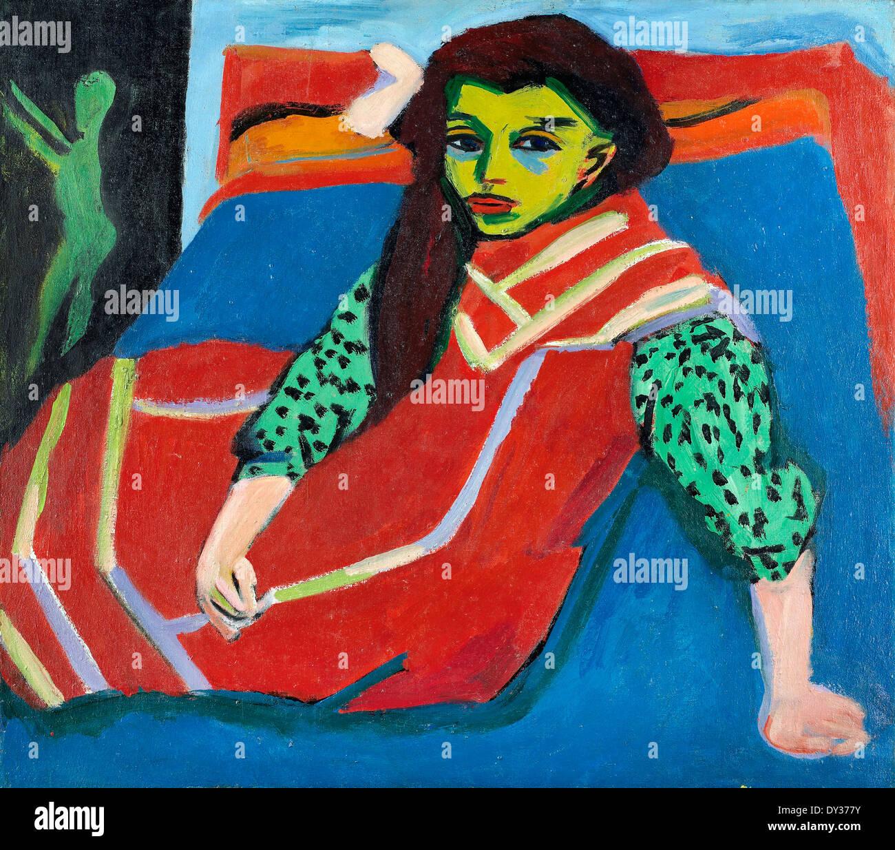 Ernst Ludwig Kirchner, Seated Girl (Franzi Fehrmann) 1910-1920 Oil on canvas. Minneapolis Institute of Arts, USA. - Stock Image