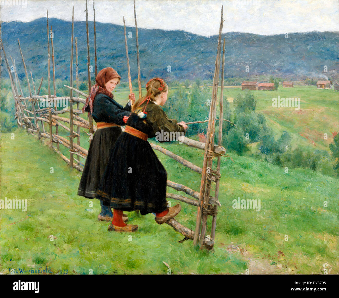 Erik Werenskiold, September 1883 Oil on canvas. The National Museum of Art, Architecture and Design, Norway. - Stock Image