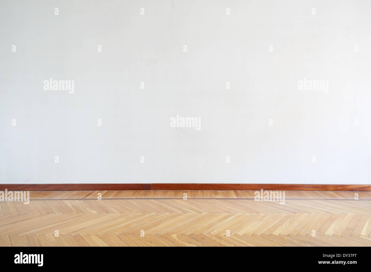 Empty room with wooden floor, parquet - Stock Image