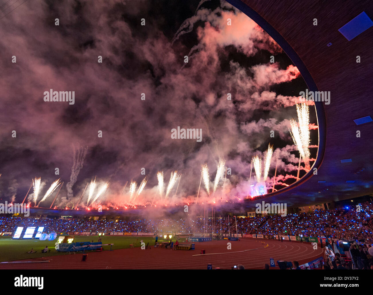 A spectacular firework in Zurich's Letzigrund stadium closes the IAAF Diamond Leaguec 'Weltklasse Zürich' athletics meeting- - Stock Image
