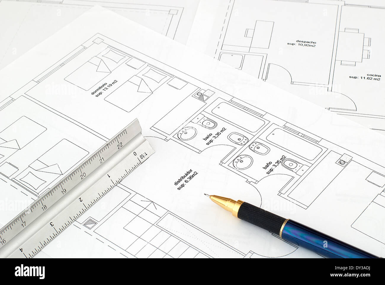 Backgrounds paperwork blueprint pencil stock photos backgrounds an architects workspace with tools penrulerscale and blueprint stock image malvernweather Gallery